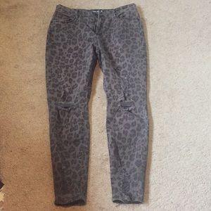 Design lab cheetah distressed jeans